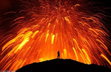 Massive exploding volcano