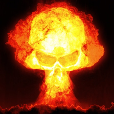 nuclear bomb with skull
