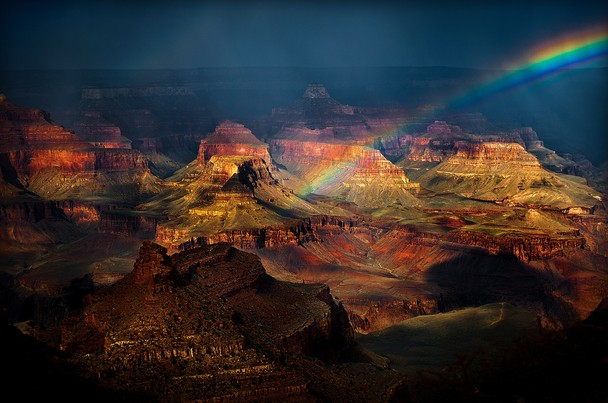 Beautiful rainbow Grand Canyon