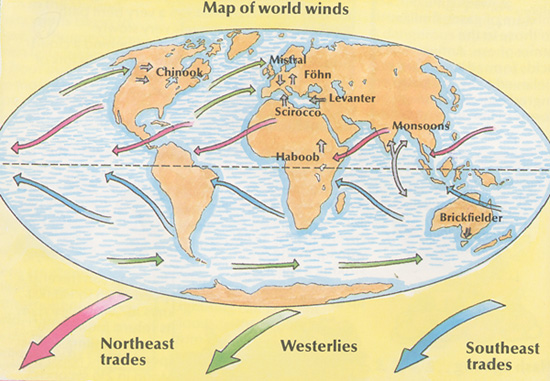 Easterly trade wind diagram