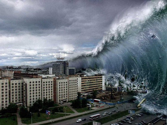 Huge wave tsunami